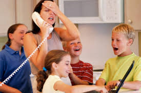 single parent on the phone 4 kids